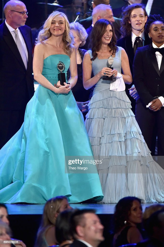 "Rachel Bay Jones (L) and Stacey Mindich accept the award for Best Musical for 'Dear Evan Hansen"" onstage during the 2017 Tony Awards at Radio City Music Hall on June 11, 2017 in New York City."