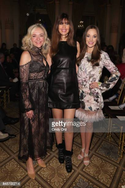 Rachel Bay Jones Carol Alt and Laura Osnes attend Dennis Basso fashion show during New York Fashion Week The Shows at The Plaza Hotel on September 11...