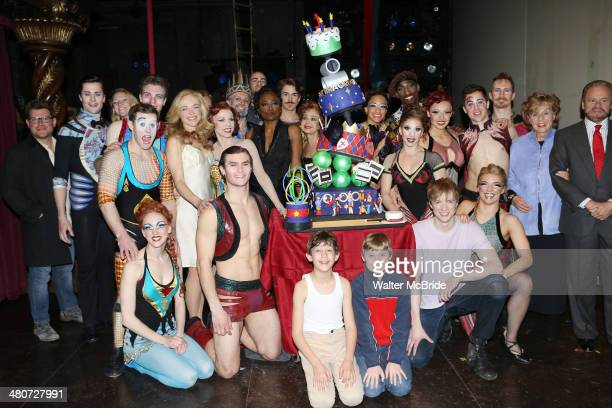 Rachel Bay Jones Charlotte D'Amboise Patina Miller Annie Potts Matthew James Thomas Producers Fran Weissler and Barry Weissler with the cast and...