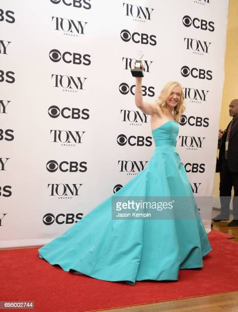 """Rachel Bay Jones, winner of the award for Featured Actress in a Musical for """"Dear Evan Handler,"""" in the press room during the 71st Annual Tony Awards..."""