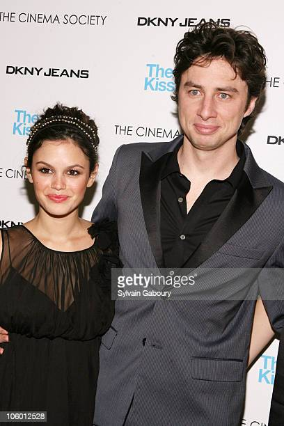 """Rachel Bilson and Zach Braff during The Cinema Society and DKNY Present a Screening of """"The Last Kiss"""" - Arrivals at Tribeca Grand Hotel Screening..."""