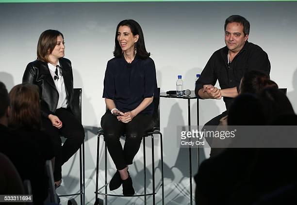 Rachel Bloom Aline Brosh McKenna and Adam Schlesinger speak at 'Crazy Ex Girlfriend A Musical Revue' during the Vulture Festival at Milk Studios on...