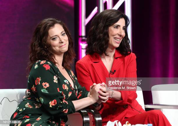 Rachel Bloom and Aline Brosh McKenna from Crazy ExGirlfriend speak onstage at the CW Network portion of the Summer 2018 TCA Press Tour at The Beverly...