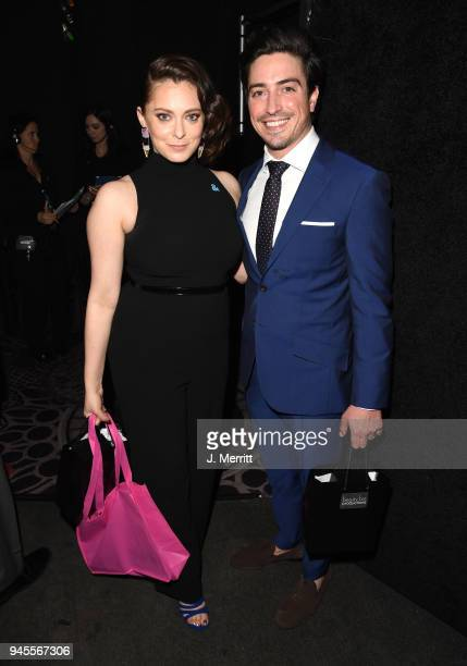 Rachel Bloom and Ben Feldman pose backstage at the 29th Annual GLAAD Media Awards at The Beverly Hilton Hotel on April 12 2018 in Beverly Hills...