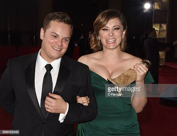 Rachel Bloom and guest are seen leaving the Golden Globe Awards After Party on January 10 2016 in Los Angeles California