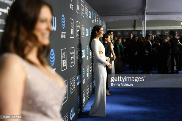 Rachel Bloom and Mandy Moore attend the 24th annual Critics' Choice Awards at Barker Hangar on January 13 2019 in Santa Monica California