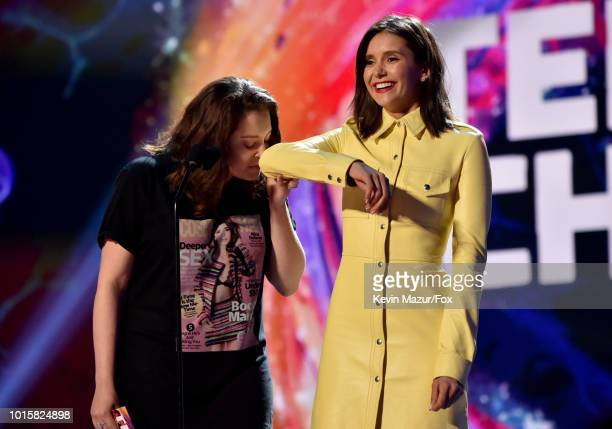 Rachel Bloom and Nina Dobrev speak onstage at FOX's Teen Choice Awards at The Forum on August 12 2018 in Inglewood California
