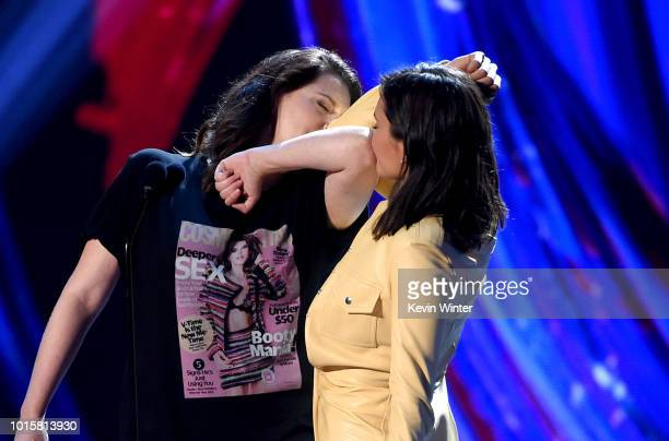 Rachel Bloom and Nina Dobrev speak onstage during FOX's Teen Choice Awards at The Forum on August 12 2018 in Inglewood California