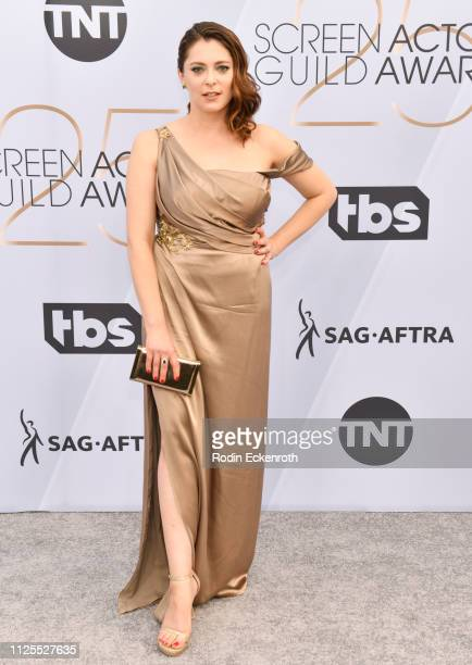 Rachel Bloom arrives at the 25th Annual Screen ActorsGuild Awards at The Shrine Auditorium on January 27 2019 in Los Angeles California