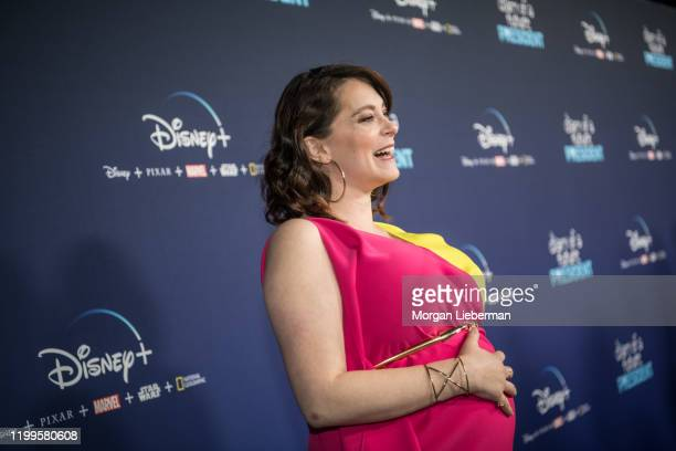 """Rachel Bloom arrives at the premiere of Disney +'s """"Diary Of A Future President"""" at ArcLight Cinemas on January 14, 2020 in Hollywood, California."""