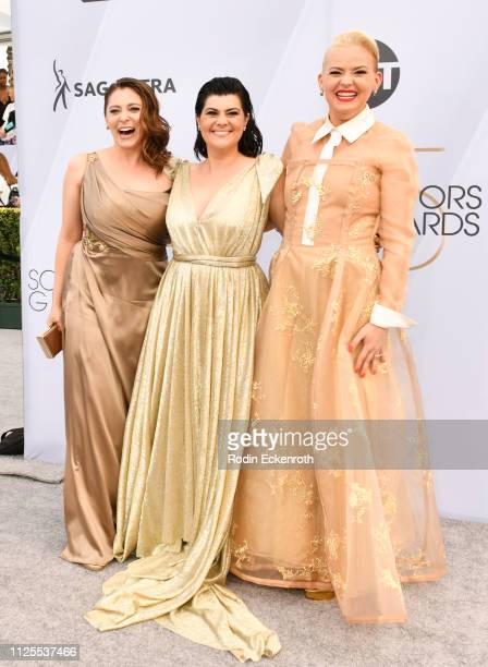 Rachel Bloom Rebekka Johnson and Kimmy Gatewood arrive at the 25th Annual Screen ActorsGuild Awards at The Shrine Auditorium on January 27 2019 in...