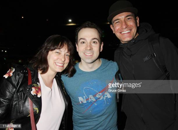 Rachel Bloom Rob McClure and Sean Montgomery pose backstage at the hit musical based on the film Beetlejuiceon Broadway at The Winter Garden Theatre...
