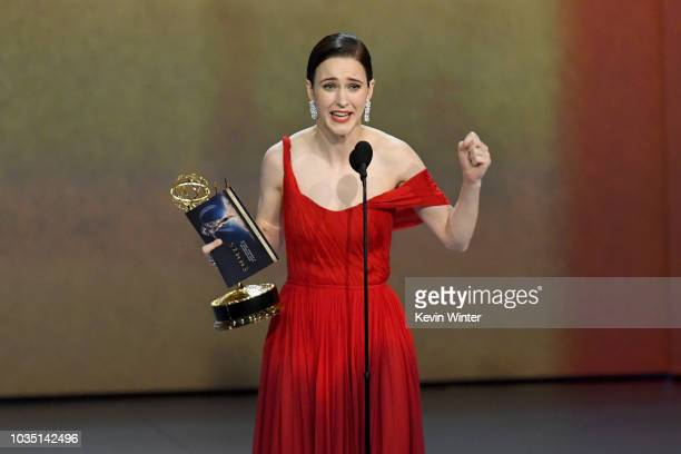Rachel Brosnahan accepts the Outstanding Lead Actress in a Comedy Series award for 'The Marvelous Mrs Maisel' onstage during the 70th Emmy Awards at...