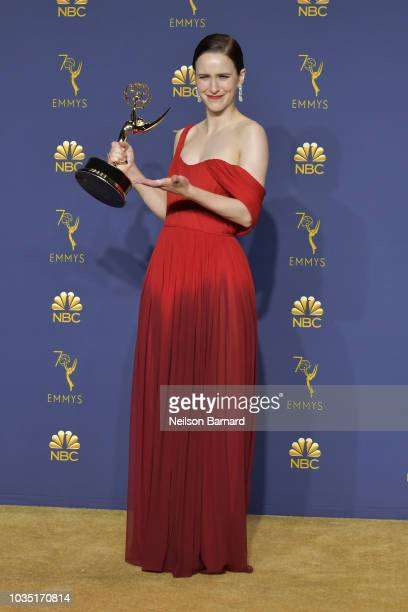 Rachel Brosnahan accepts the Outstanding Lead Actress in a Comedy Series award for 'The Marvelous Mrs. Maisel' during the 70th Emmy Awards on...