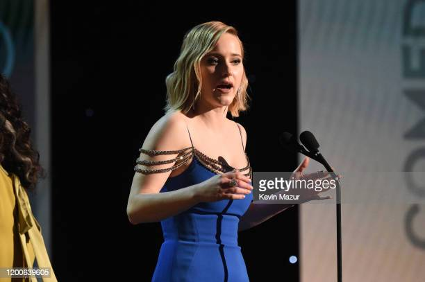Rachel Brosnahan accepts the Outstanding Performance by an Ensemble in a Comedy Series award for 'The Marvelous Mrs Maisel' onstage during the 26th...