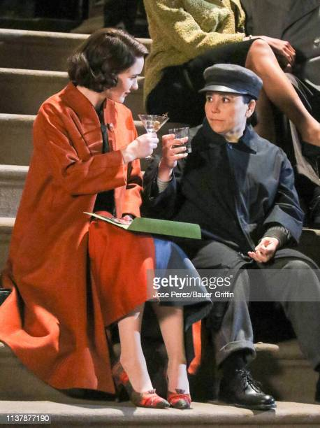 Rachel Brosnahan and Alex Borstein are seen on film set of TV Series 'The Marvelous Mrs. Maisel' on April 17, 2019 in New York City.