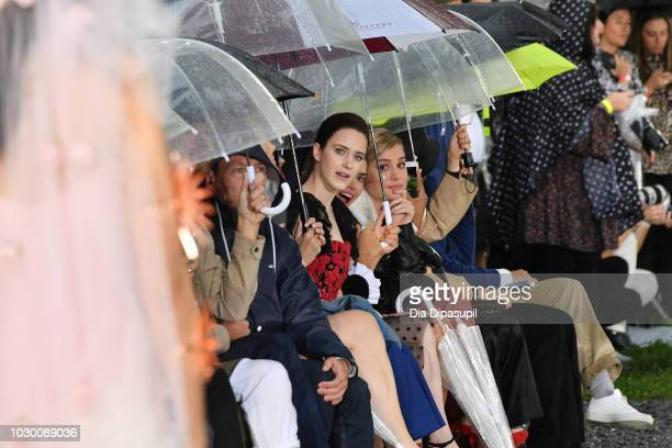 Rachel Brosnahan and Brie Larson attend the Rodarte Front Row during New York Fashion Week The Shows on September 9 2018 in New York City