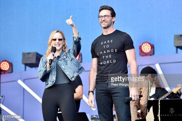 Rachel Brosnahan and Hugh Jackman speak onstage during the 2019 Global Citizen Festival Power The Movement in Central Park on September 28 2019 in...