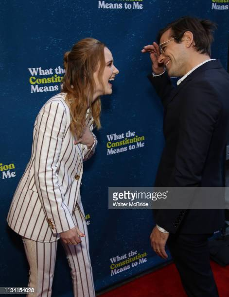 Rachel Brosnahan and Jason Ralph attend the Broadway Opening Night Performance of What The Constitution Means To Me at the Hayes Theatre on March 31...