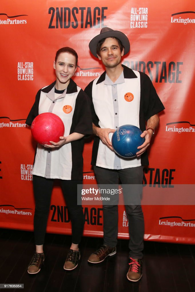 Rachel Brosnahan and Jason Ralph attend the Second Stage Theatre 2018 Bowling Classic at Lucky Strike on February 12, 2018 in New York City.