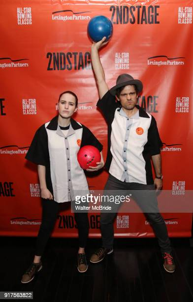 Rachel Brosnahan and Jason Ralph attends the Second Stage Theatre 2018 Bowling Classic at Lucky Strike on February 12 2018 in New York City