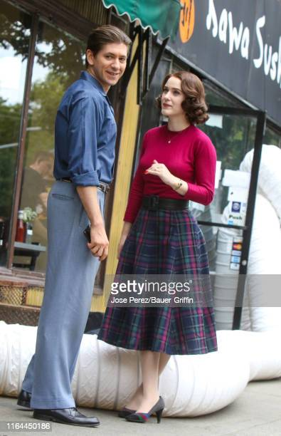 Rachel Brosnahan and Michael Zegen are seen on the film set of 'The Marvelous Mrs Maisel' on August 27 2019 in New York City