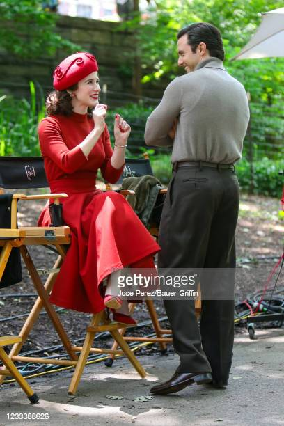 Rachel Brosnahan and Milo Ventimiglia are seen at the film set of 'The Marvelous Mrs Maisel' TV Series on June 10, 2021 in New York City.