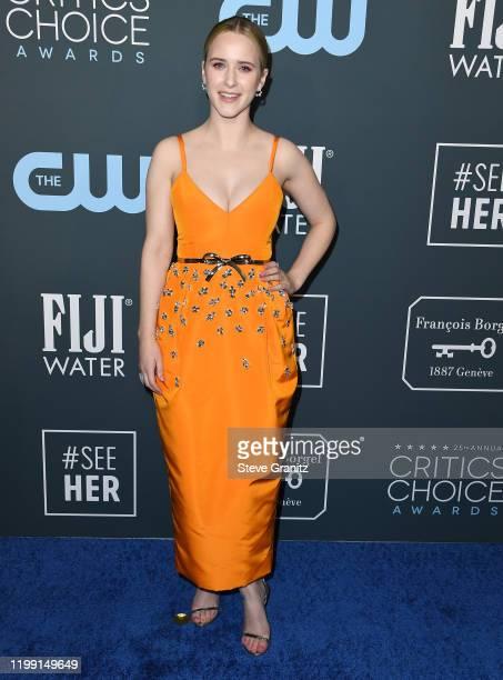 Rachel Brosnahan arrives at the 25th Annual Critics' Choice Awards at Barker Hangar on January 12, 2020 in Santa Monica, California.