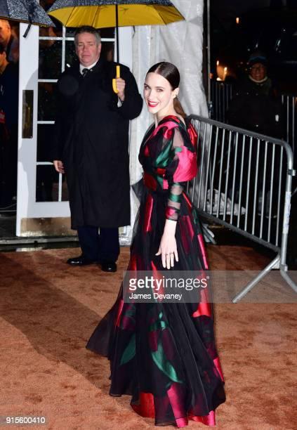 Rachel Brosnahan arrives to the 2018 amfAR Gala New York at Cipriani Wall Street on February 7 2018 in New York City