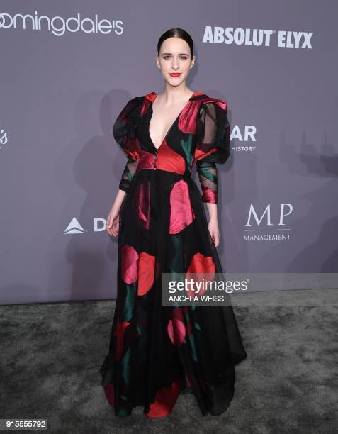 Rachel Brosnahan attends the 2018 amfAR Gala New York at Cipriani Wall Street on February 7 2018 in New York City / AFP PHOTO / ANGELA WEISS