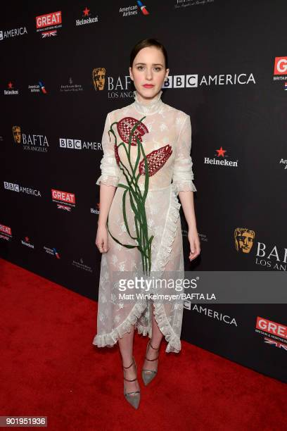 Rachel Brosnahan attends The BAFTA Los Angeles Tea Party at Four Seasons Hotel Los Angeles at Beverly Hills on January 6 2018 in Los Angeles...