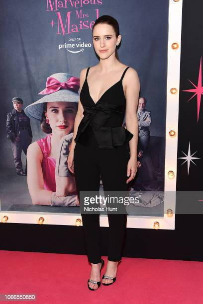 """Rachel Brosnahan attends the """"The Marvelous Mrs. Maisel"""" New York Premiere at The Paris Theatre on November 29, 2018 in New York City."""