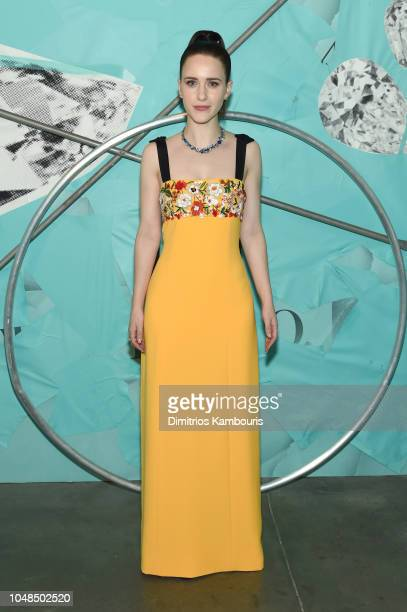 Rachel Brosnahan attends Tiffany Co Celebrates 2018 Tiffany Blue Book Collection THE FOUR SEASONS OF TIFFANY at Studio 525 on October 9 2018 in New...