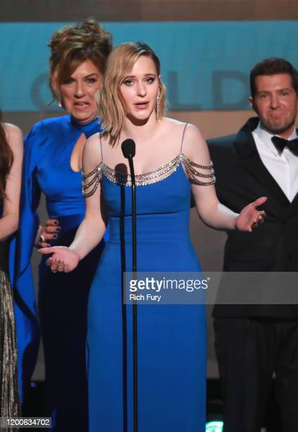 Rachel Brosnahan Caroline Aaron and Joel Johnstone accept Outstanding Performance by an Ensemble in a Comedy Series for 'The Marvelous Mrs Maisel'...