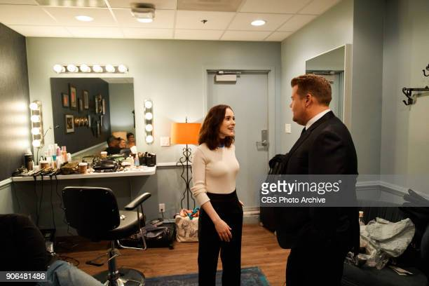 Rachel Brosnahan chats in the green room with James Corden during 'The Late Late Show with James Corden' Tuesday January 16 2018 On The CBS...