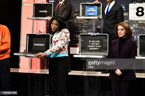 LIVE Rachel Brosnahan Episode 1756 Pictured Ego Nwodim as Cardi B and Kate McKinnon as Nancy Pelosi during the Deal or No Deal Cold Open sketch on...