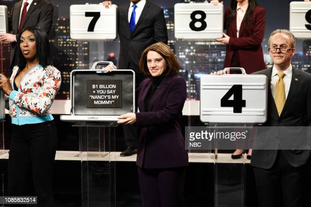 LIVE Rachel Brosnahan Episode 1756 Pictured Ego Nwodim as Cardi B Kate McKinnon as Nancy Pelosi and Alex Moffat as Chuck Schumer during the Deal or...