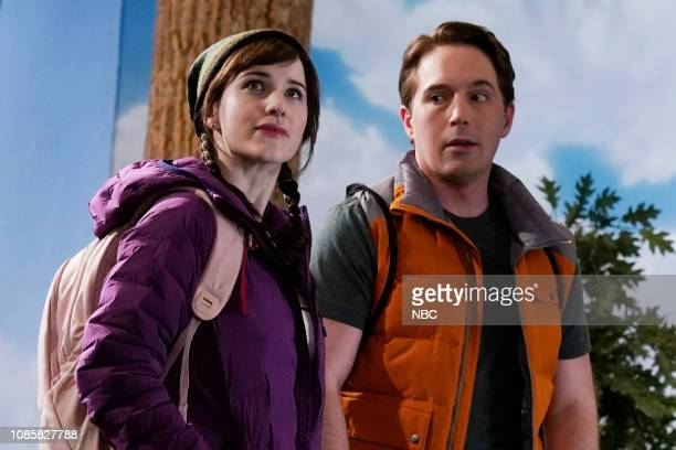 LIVE Rachel Brosnahan Episode 1756 Pictured Host Rachel Brosnahan and Beck Bennett during the Women's Travel Product sketch on Saturday January 19...