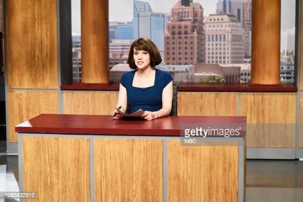 LIVE Rachel Brosnahan Episode 1756 Pictured Kate McKinnon as Carol Kumdungeon during the Earthquake News Report sketch on Saturday January 19 2019