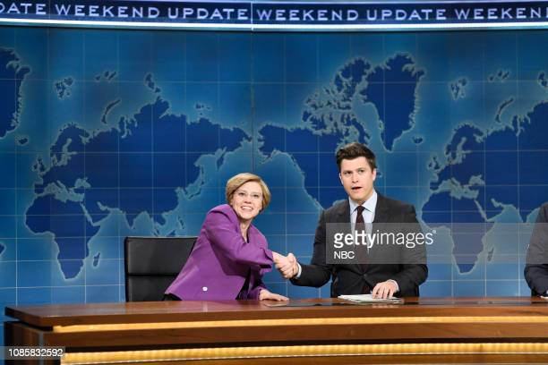 LIVE Rachel Brosnahan Episode 1756 Pictured Kate McKinnon as Elizabeth Warren and anchor Colin Jost during Weekend Update on Saturday January 19 2019