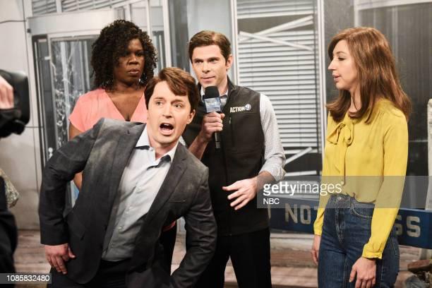 LIVE Rachel Brosnahan Episode 1756 Pictured Leslie Jones as Dr Donna Diddadog Beck Bennett as Alan Hitler Mikey Day as Randall Fields and Heidi...