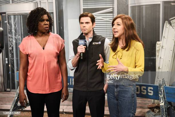 LIVE Rachel Brosnahan Episode 1756 Pictured Leslie Jones as Dr Donna Diddadog Mikey Day as Randall Fields and Heidi Gardner as Julia N during the...