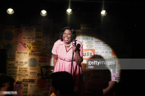 LIVE 'Rachel Brosnahan' Episode 1756 Pictured Leslie Jones as Rita Mae Johnson during the 'Comedy Club' sketch on Saturday January 19 2019