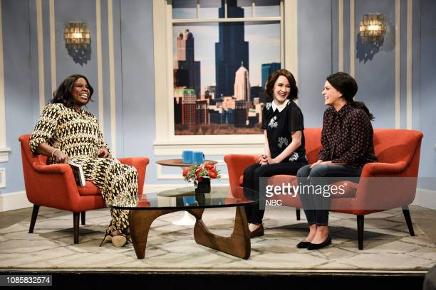 LIVE Rachel Brosnahan Episode 1756 Pictured Leslie Jones as Tabitha host Rachel Brosnahan as Lauren Haas and Cecily Strong as Mary Butler during the...
