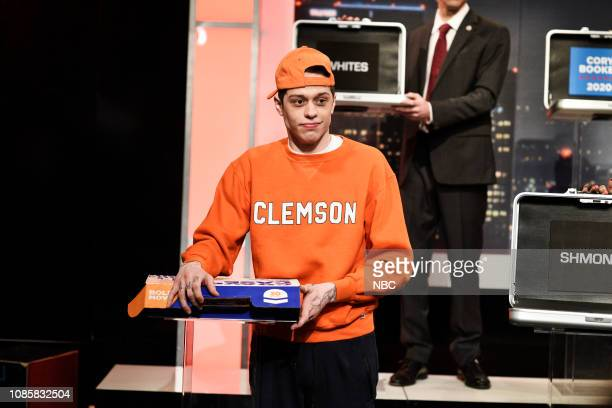 LIVE Rachel Brosnahan Episode 1756 Pictured Pete Davidson as a Clemson student during the Deal or No Deal Cold Open sketch on Saturday January 19 2019