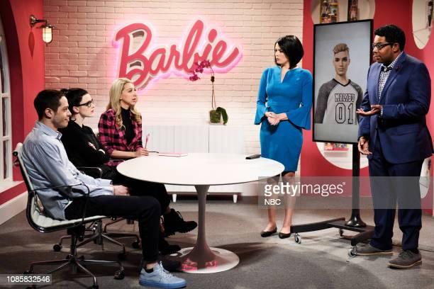 "Rachel Brosnahan"" Episode 1756 -- Pictured: Pete Davidson, host Rachel Brosnahan, Heidi Gardner, Cecily Strong, and Kenan Thompson during the ""Ken..."