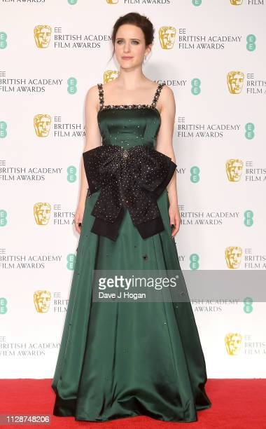 Rachel Brosnahan in the press room during the EE British Academy Film Awards at Royal Albert Hall on February 10, 2019 in London, England.