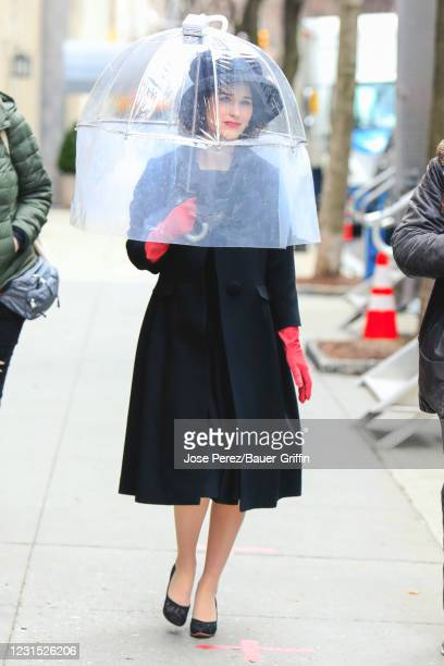 Rachel Brosnahan is seen at the film set of 'The Marvelous Mrs. Maisel' TV Series on March 04, 2021 in New York City.