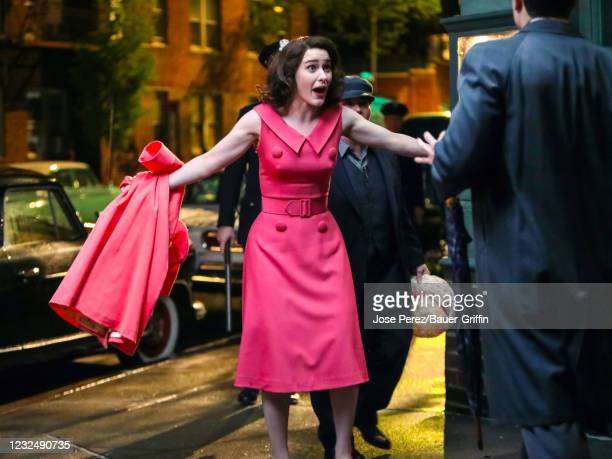 Rachel Brosnahan is seen at the film set of 'The Marvelous Mrs. Maisel' TV Series on April 23, 2021 in New York City.