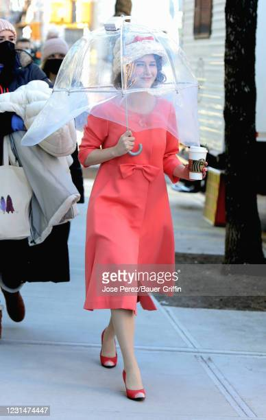 Rachel Brosnahan is seen at the film set of the 'The Marvelous Mrs. Maisel' TV Series on March 02, 2021 in New York City.